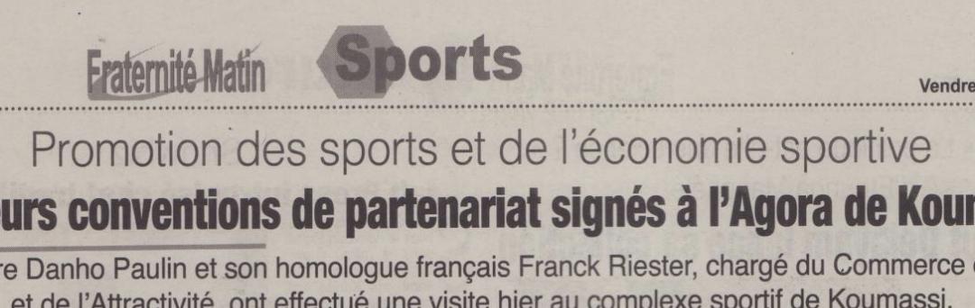 Promotion du sport et de l'économie sportive : Plusieurs conventions de partenariat signées à l'AGORA de Koumassi